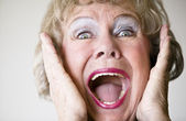 Screaming Senior Woman — Stockfoto