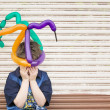 Sad Boy with a Balloon Hat — Stock Photo #39450507