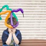Sad Boy with a Balloon Hat — Stockfoto
