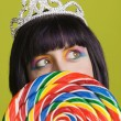 Young punk woman with a big lollipop — Stock Photo