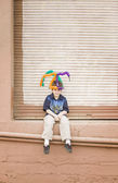 Boy with a Balloon Hat — Stock Photo