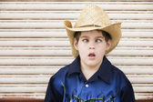 Cross-Eyed Boy in a Cowboy Hat — Stock Photo