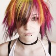 Stock Photo: Punk Girl with Brightly Colored Hair