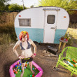 Stock Photo: Womoutside trailer