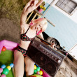 Rock and Roll Woman in a Play Pool — Stock Photo