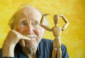 Artist Ponders a Wooden Model — Foto Stock