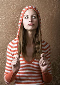 Young Woman Pulling on her Long Hair — Stock Photo