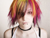Punk Girl with Brightly Colored Hair — Stock Photo