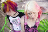 Punk Girls on a Bench — Stock Photo