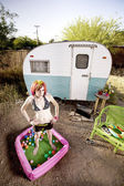 Woman outside a trailer — Stock Photo