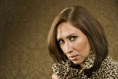 Pretty Hispanic Woman In Leopard Print — Stock Photo