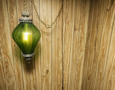 Wood Paneling and Hanging Lamp — Stock Photo
