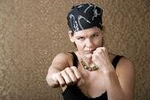 Pretty Boxing Woman Wearing a Bandana — Stock Photo