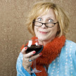 Funny WomDrinking Wine — Stock Photo #39618087