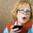 Funny WomDrinking Wine — Stock Photo #39618103