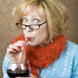 Funny WomDrinking Wine — Stock Photo #39618105