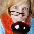 Stock Photo: Crazy WomDrinking Wine
