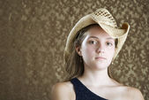 Confident Young Girl in a Cowboy Hat — Stock Photo