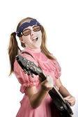 Young Girl with a Rock Guitar — Stock Photo