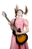 Young Girl with a Rock GuitarPlaying Headbanger Music — Stock Photo