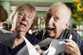 Elder Couple with Bills — Foto Stock