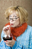 Funny Woman Drinking Wine — Stock Photo