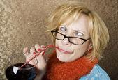 Crazy Woman Drinking Wine — Stock Photo