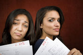 Girls with Math Scores — Stock Photo