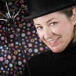 Woman in a bowler hat with umbrella — Stock Photo #39621031