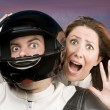 Stock Photo: Mand fearful womon motorcycle