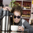 Coffee Crazed Young Man — Stock Photo
