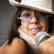 Beautiful Young Singer — Stock Photo