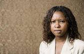 Concerned Pretty African-American Woman — Stock Photo