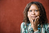 Stressed Pretty African-American Woman — Stockfoto