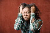 Angry Pretty African-American Woman — Stockfoto