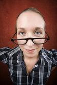 Pretty nerd woman in reading glasses — 图库照片