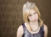Pretty young girl with a tiara — Stock Photo