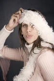 Pretty Woman with a Fuzzy Scarf — Stock Photo