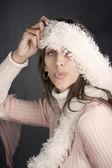 Pretty Woman with a Fuzzy Scarf — Stock Photo