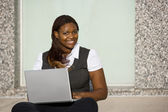 African American Woman with Laptop — Stock Photo