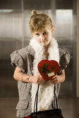 Cute young girl with Valentine — Stock Photo