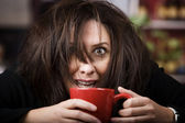 Coffee-Crazed Woman — Stock Photo