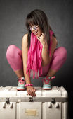 Pretty Young Woman on a Cargo Box — Foto Stock