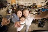 Do-It-Yourself family with wrenches — Stock Photo