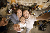 Crazy Do-It-Yourself family with wrenches — Stock Photo