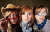 Three Young Girls with Microphone — Stock Photo