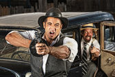 Angry Mobsters Shooting Gun — Stock Photo