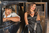 Gangsters with Shotgun in Car — Stock Photo