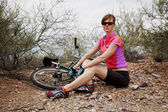 Woman with Mountain Bike — Stock Photo