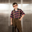 Stock Photo: Little boy in adult clothes